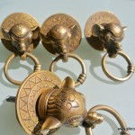"4 ELEPHANT pulls handles antique solid brass vintage drawer knobs ring 2.1/4"""