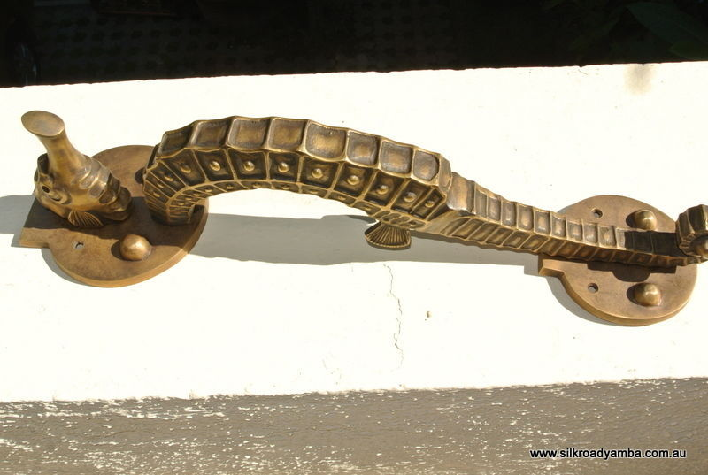 Very Large Seahorse Solid Brass Door Old Style Heavy House