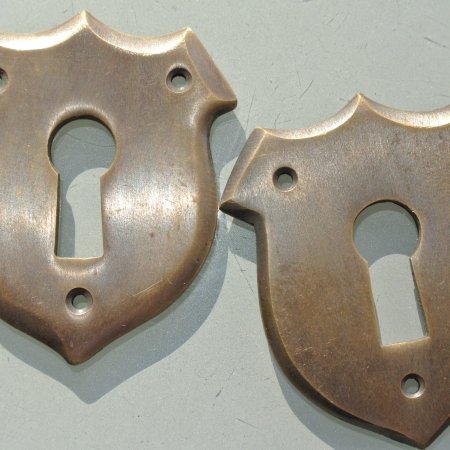 2 KEY hole covers old stye vintage antique look solid heavy brass aged escutcheon