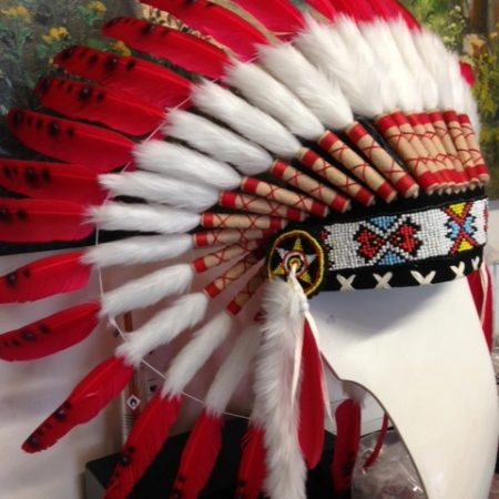 WAR BONNET 600mm RED head chief feathers leather bead native american indian NEW