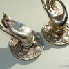 """2 Buddha Pulls handle Fingers silver brass door antique old style HAND knobs 2.1/4"""""""
