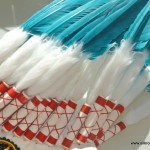 short WAR BONNET medium BLUEY GREEN head chief feathers leather hand stitched native american