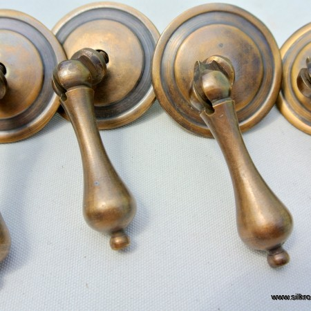 "4 round pulls handles solid brass door vintage old style drops knobs kitchen heavy 2"""