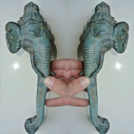 "2 large 32 cm aged green seaside green patina handles ELEPHANT Door Pull HANDLE 13 "" long solid BRASS trunk door aged knob grab cabinet"
