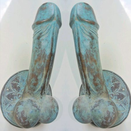 "2 large penis DOOR PULL or HOOK hand made brass 9 "" handle seaside aged green patina beach"