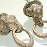 2 small ELEPHANT pulls handles antique solid brass vintage drawer knobs ring 36 mm