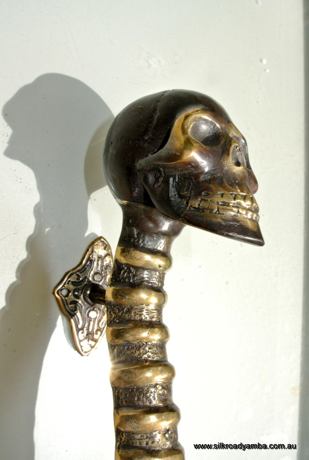 Small Skull Handle Door Pull Spine Solid Brass Bronze