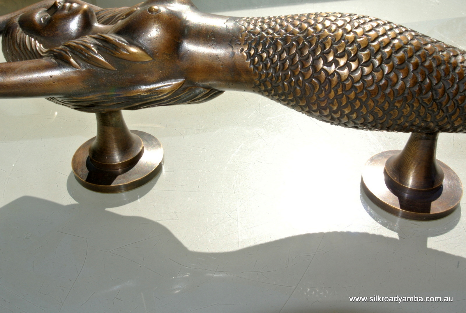Left Hand Large Mermaid Solid Brass Door Pull Old Style
