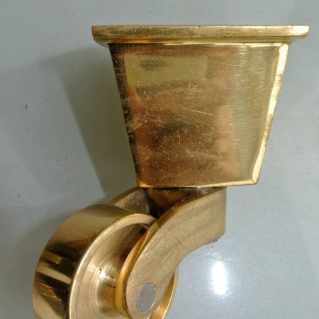 small POLISHED square CUP Castors heavy solid brass foot castors table chair wheel old style 32mm