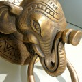 Heavy ELEPHANT trunk front Door Knocker SOLID BRASS old style house Stunning