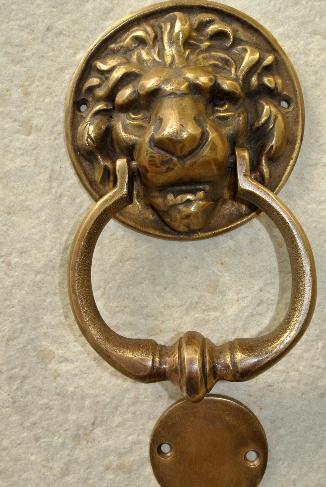 Small Lion Head Solid Brass Hand Made Door Knocker 160 Mm