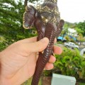 "elephant DOOR handle pull solid brass hollow old vintage style look 13"" aged"