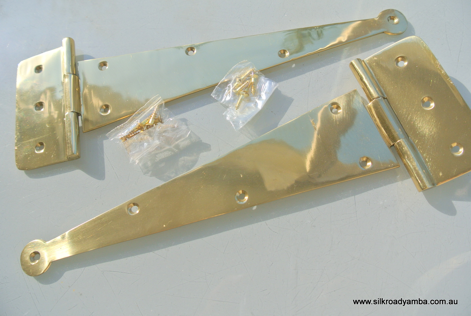 2 Polished Large Hinges Vintage Aged Style Solid Brass