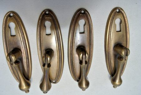 4 pulls drops handles antique style solid brass vintage old replace drawer small door heavy