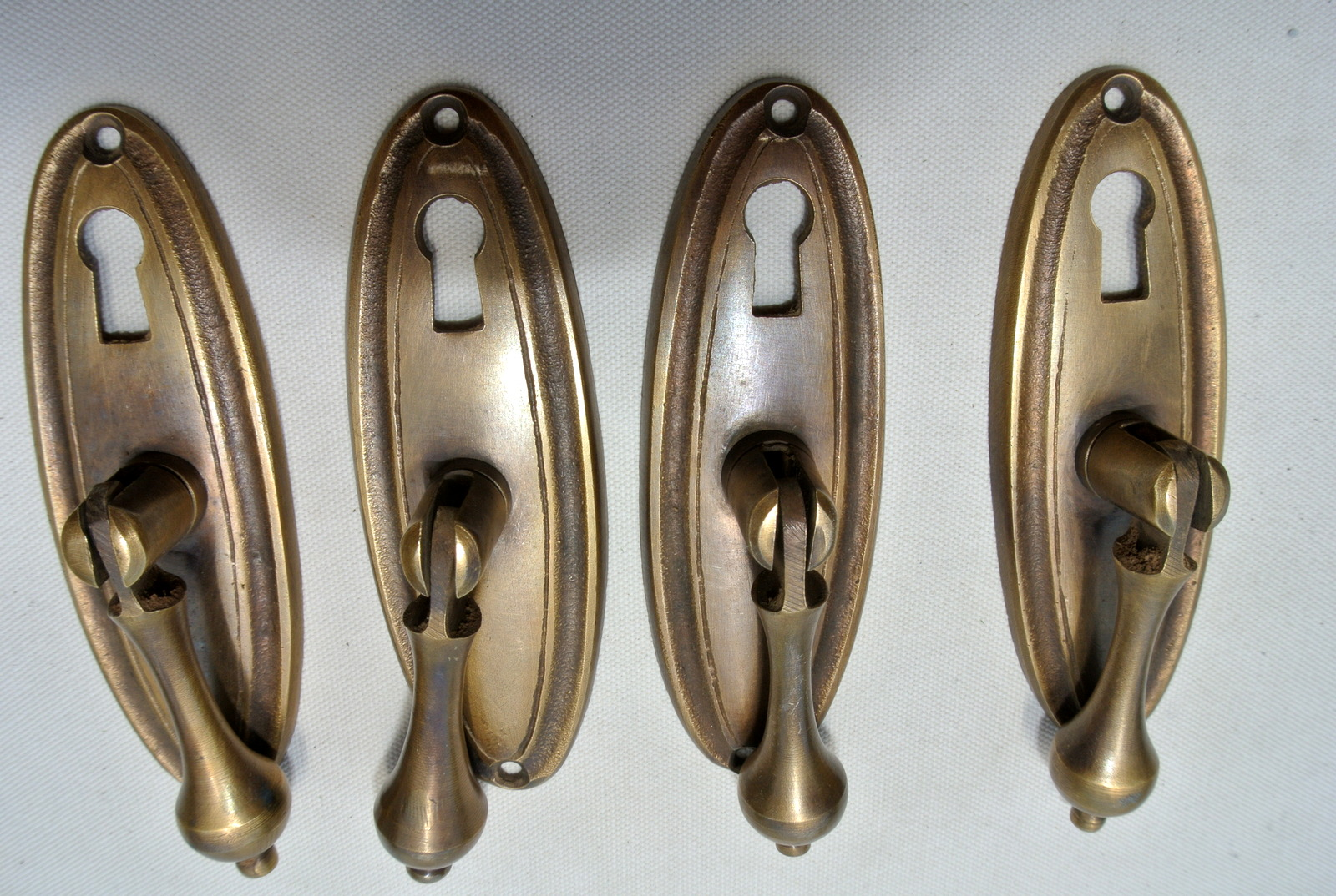 4 Pulls Drops Handles Antique Style Solid Brass Vintage