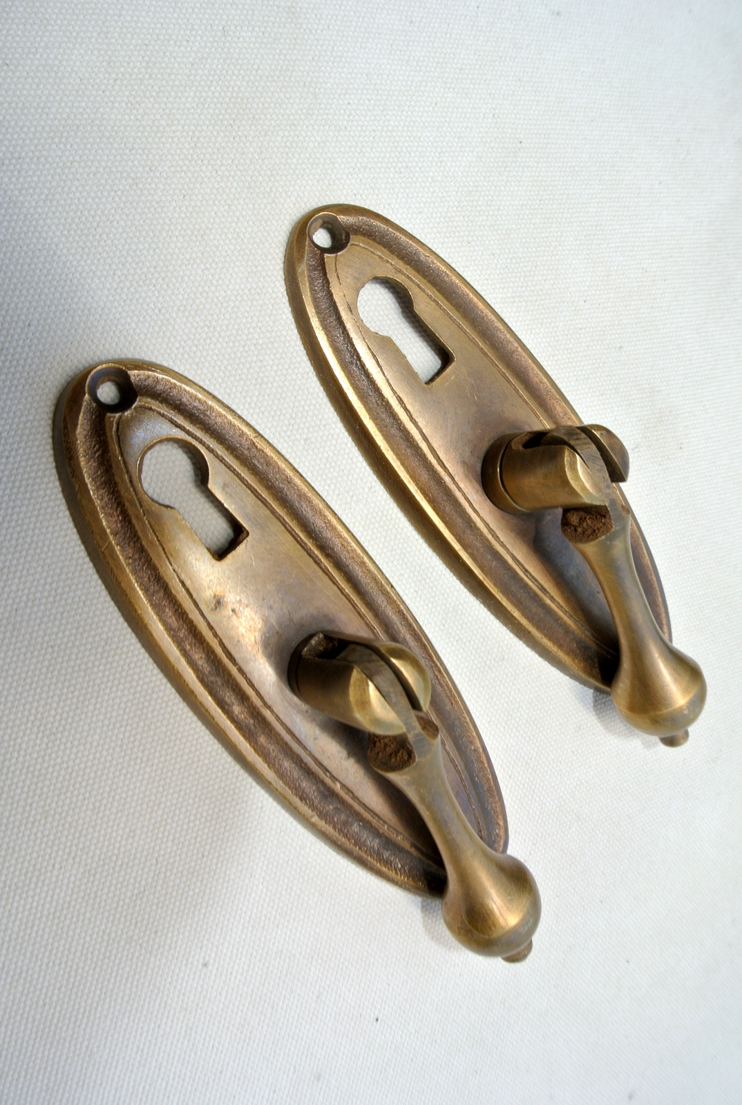 2 Pulls Drops Handles Antique Style Solid Brass Vintage