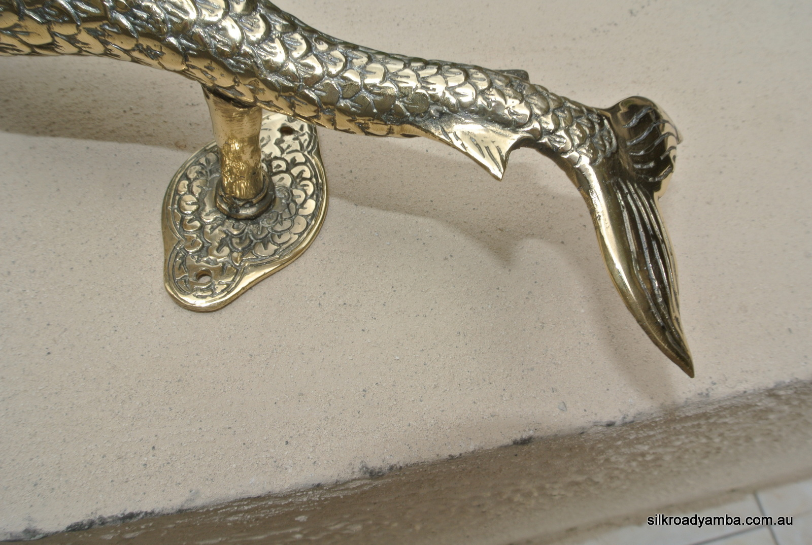 Medium Mermaid Solid Brass Door Pull Old Style Heavy House