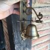 "Large BELL front door heavy Vintage style 10 ""antique look solid brass aged Chain nice sound Large BELL front door heavy Vintage style 10 ""antique look solid brass aged Chain nice sound"