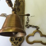 "Large BELL front door heavy Vintage style 10 ""antique look solid brass aged Chain nice sound"