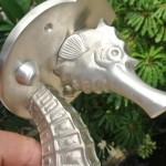 """ery large SEAHORSE solid brass SILVER PLATE door old style heavy house PULL handle 16.1/2"""""""