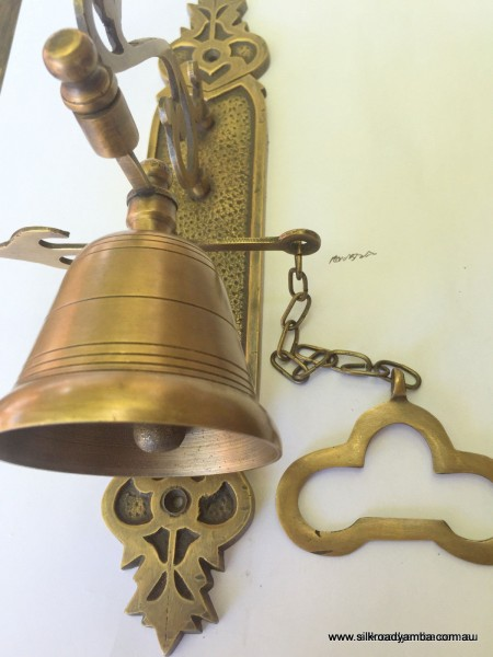 "Large BELL front door heavy Vintage style 10 ""antique look solid brass aged Chain nice soun"