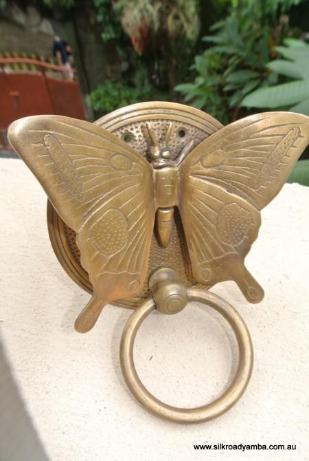 Solid Brass heavy BUTTERFLY Door Knocker 15 cm high 12 cm wide bolt pull