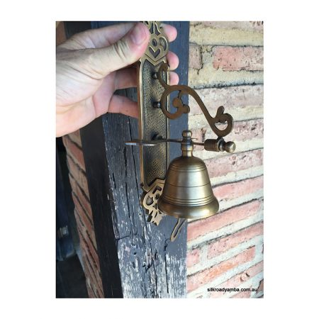 """BELL front door heavy Vintage style 10 """"size antique look solid brass aged Chain nice sound"""