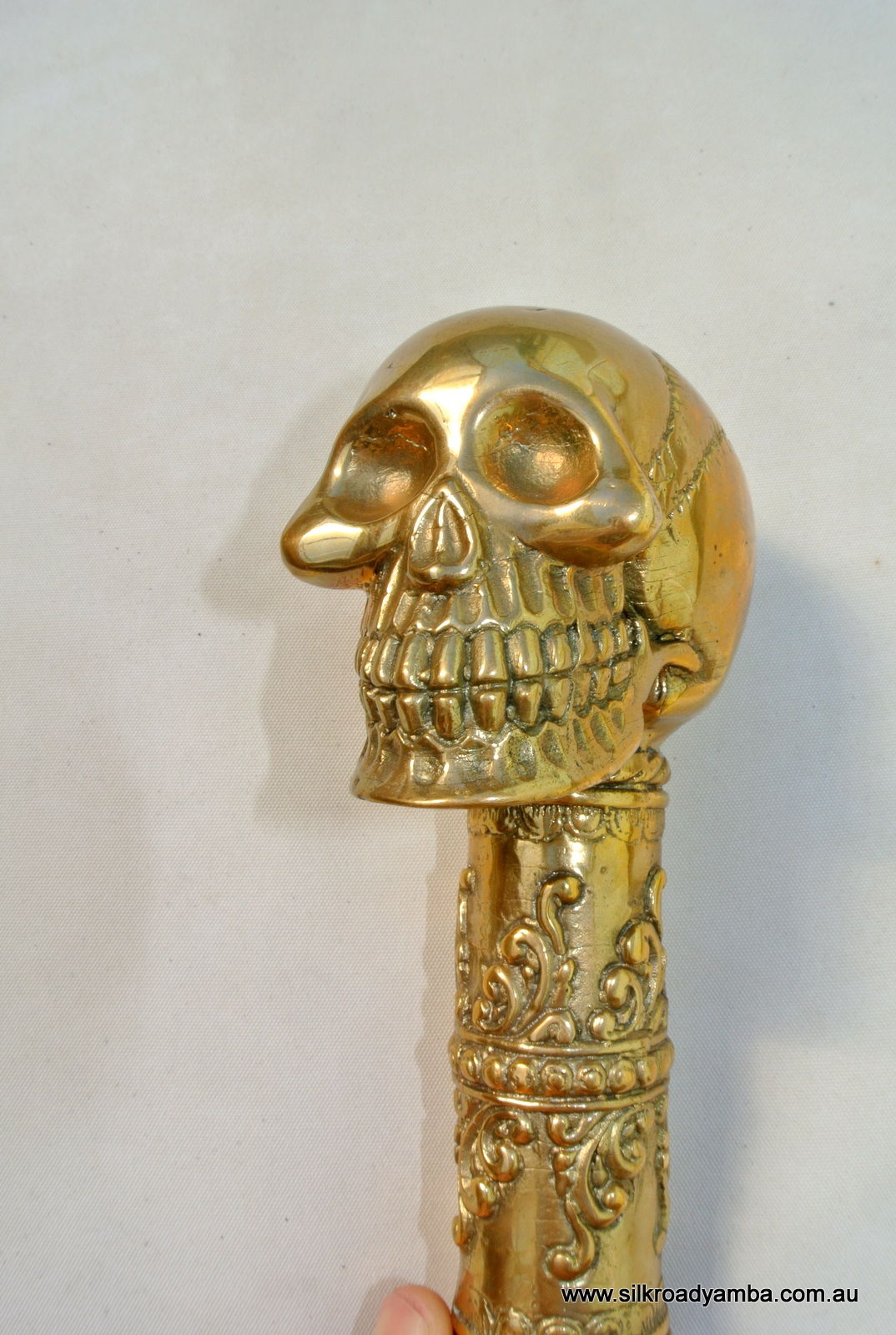 BRASS WALKING STICK endlarge brass SKULL head only hand made engraved design