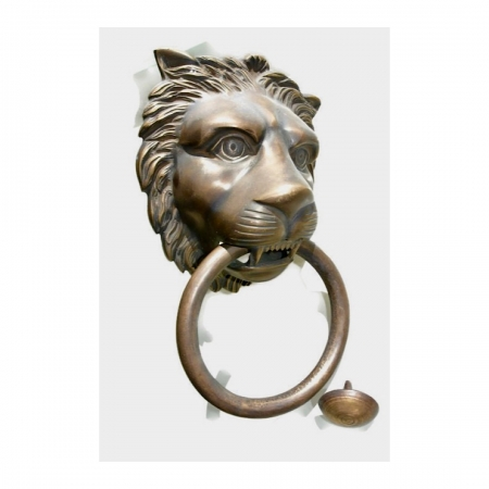 "HUGE stunning LION solid Brass heavy Door Knocker 12"" unusual ring PULL"