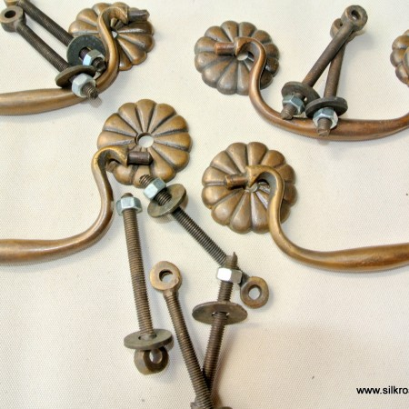 "4 heavy DROP pulls handles BOX antique solid brass 3.1/2"" vintage drawer heavy BALE"