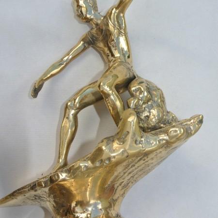 """BRASS SURFER superb statue real Brass old vintage style TROPHY 9.1/2"""""""