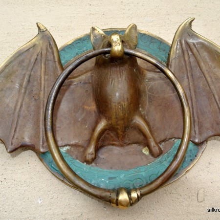 "Solid Brass small heavy BAT Door Knocker 7"" unusual wings ring"
