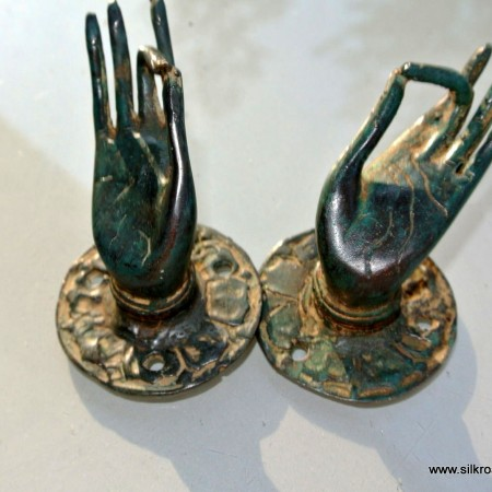 2 tiny aged GREEN finger Pull handle brass door antique old style HAND knob hook
