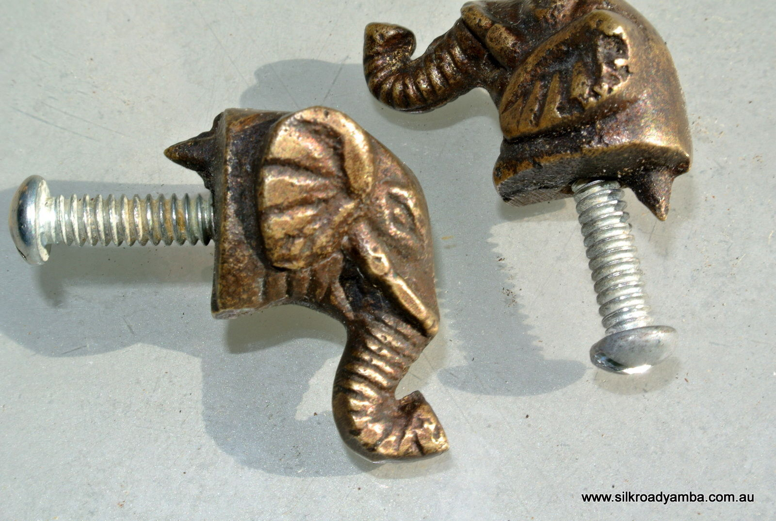 2 Tiny Elephant Shape Pulls Handles Antique Solid Brass