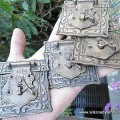 "4 small Nice box Latch catch solid brass furniture doors 3 "" engraved square jewellery box"