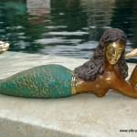 "MERMAID heavy solid Brass GREEN statue 9"" shell"