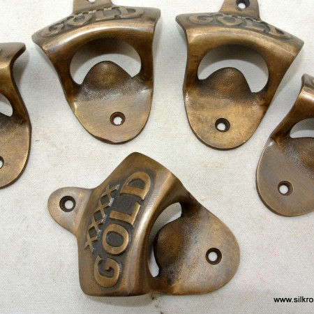 "5 ""COCA COLA"" Bottle Opener brass COKE works AGED finish screws included heavy"