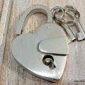 "small SILVER tiny Vintage style antique ""HEART LOVE "" shape Padlock solid brass 2 keys heavy lock works 2"""