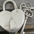 "silver PADLOCK 3.1/2"" Vintage stye HEART LOVE brass wedding bridge 2 key working"