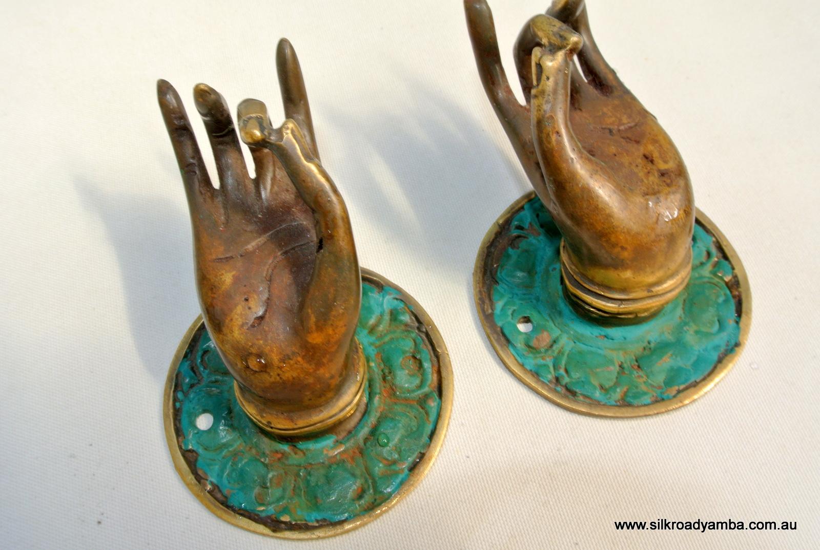 2 Small Buddha Pulls Handle Fingers Green Brass Door
