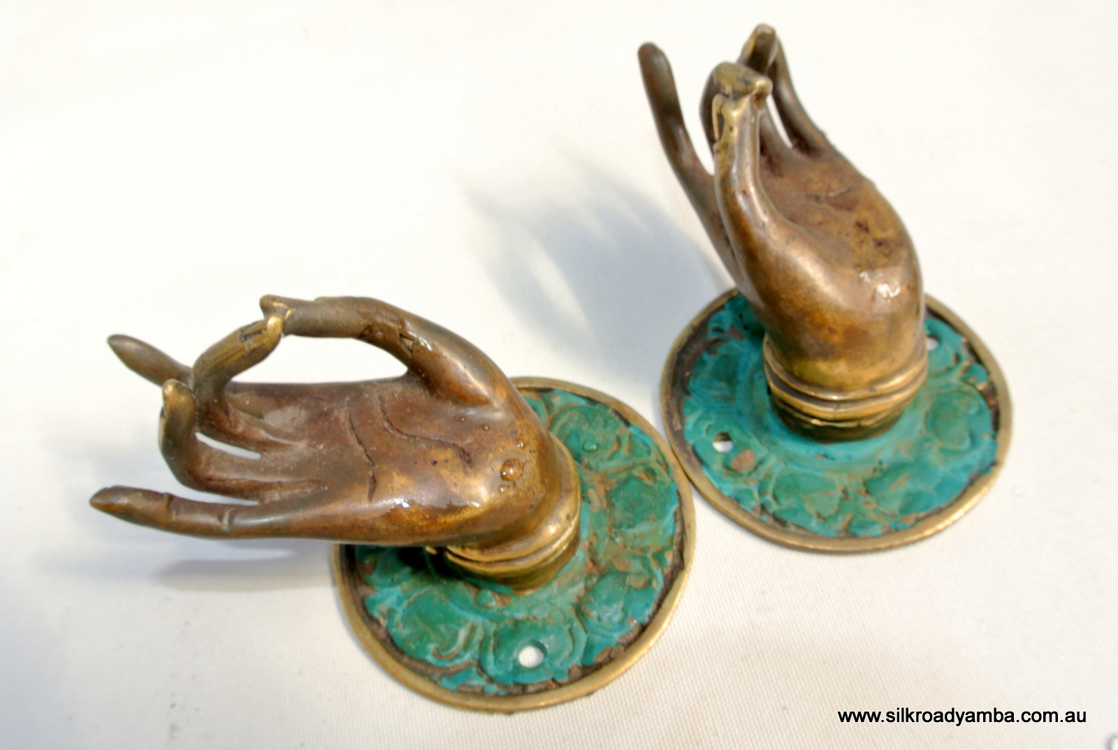 2 Small Buddha Pulls Handle Fingers Green Brass Door