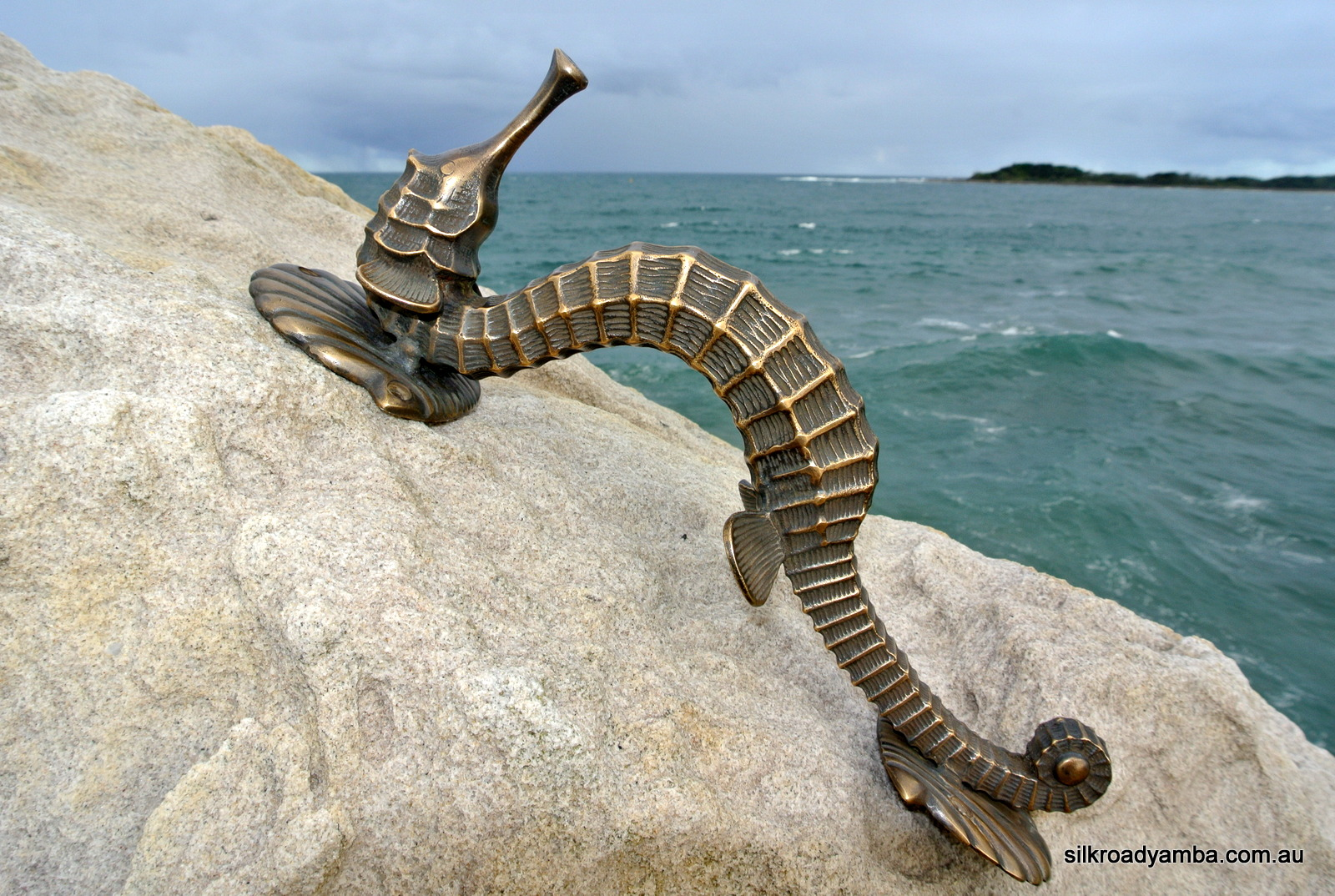 """nice Large SEAHORSE solid brass door old style heavy house PULL handle 13"""""""