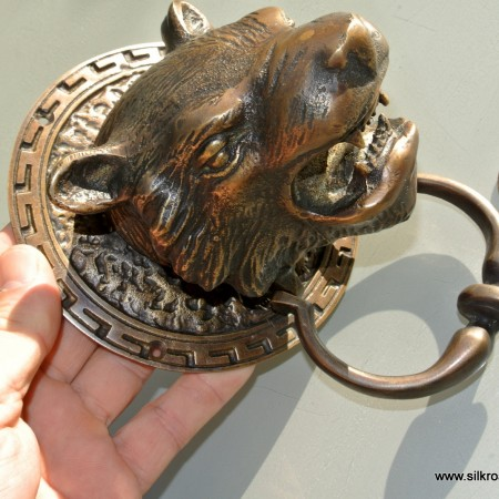 "heavy LION / TIGER head front Door Knocker 5. 1/2"" SOLID BRASS antique style large"