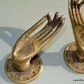 """2 Pull handle hands fingers brass door antique old style knob hook 4.1/2"""" cast"""