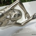 "RIGHT hand large MERMAID solid brass door PULL old style heavy house PULL handle 15"" SILVER"