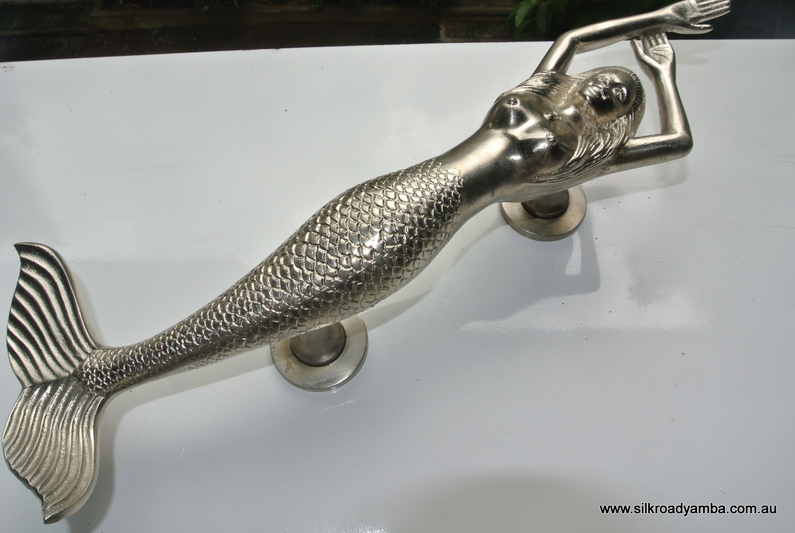 """LEFT hand large MERMAID solid brass door PULL old style heavy house PULL handle 15"""" SILVER"""