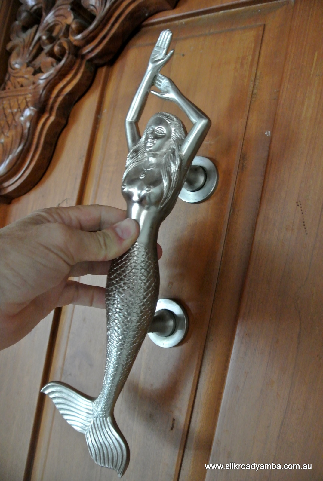 Left Hand Large Mermaid Silver Solid Brass Door Pull Old