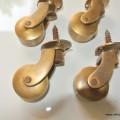 4 screw Castors heavy solid brass foot tables chairs castors wheel old style 32mm