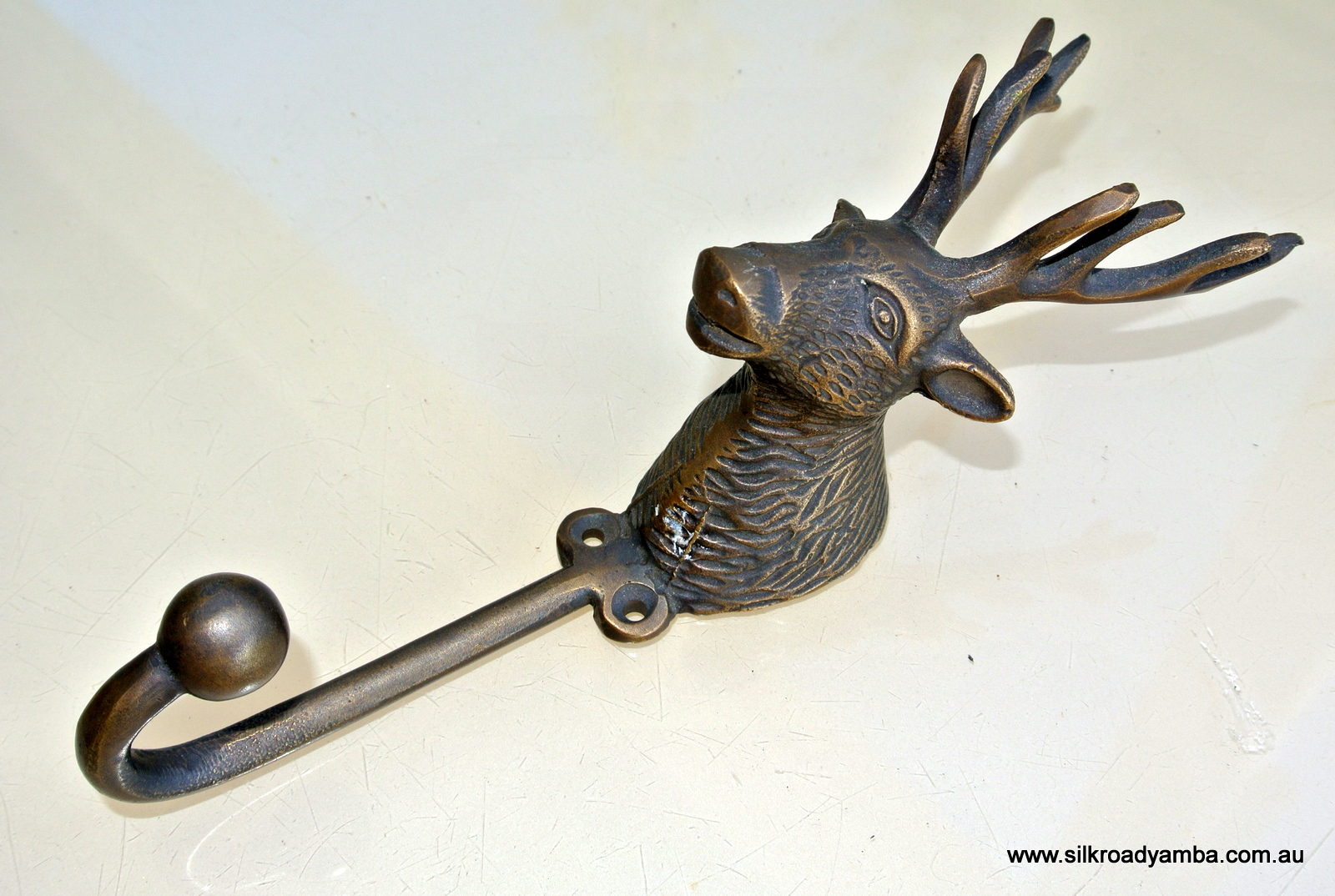 Large Stag Deer Coat Hook Solid Brass Antiques Vintage Old