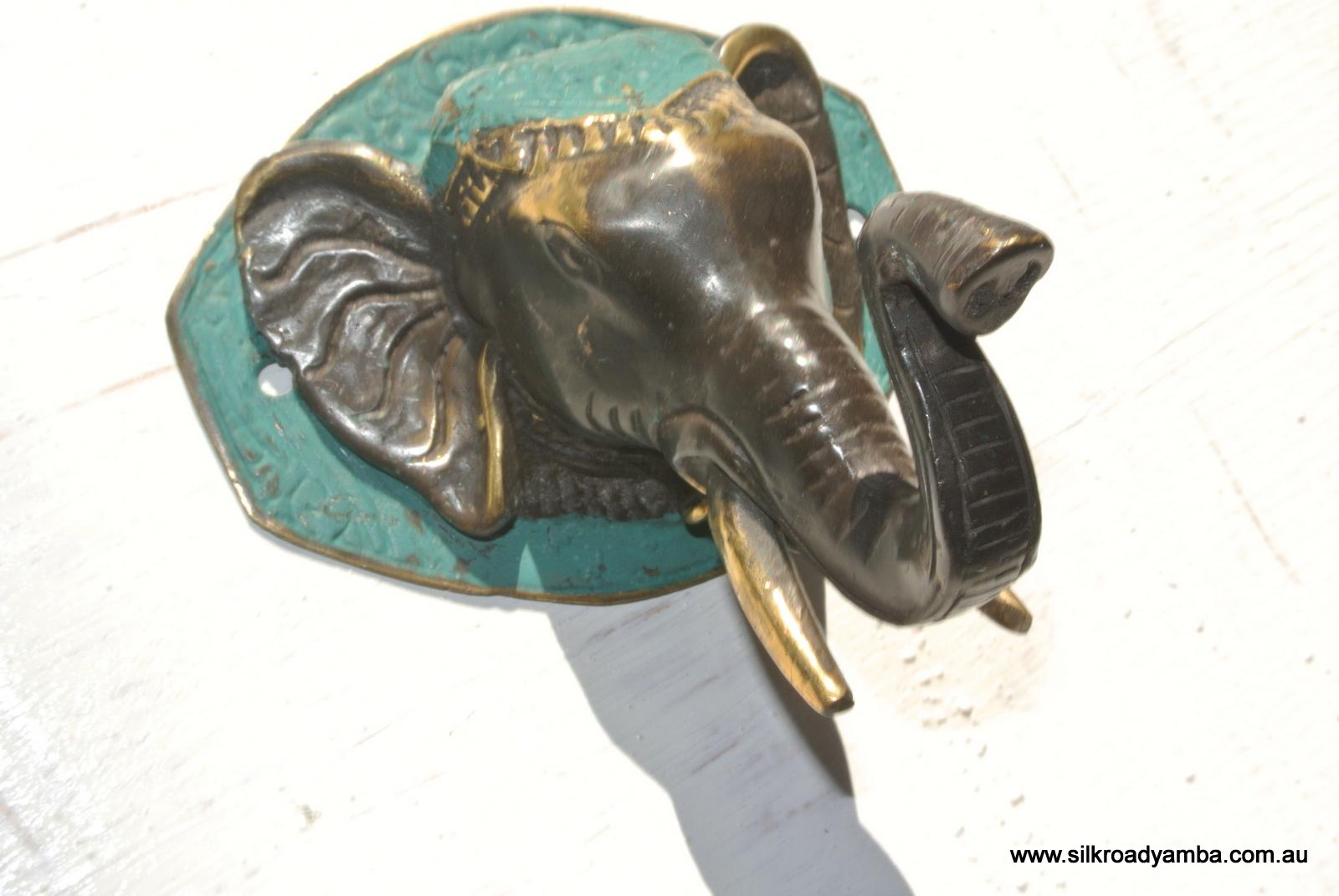 Elephant shape wall hook ″ brass old style look screw